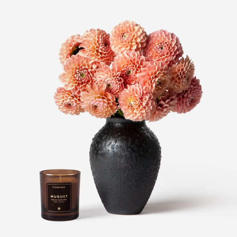 Vase Set Sex on the Beach Dahlia and Small Mayfair Onyx