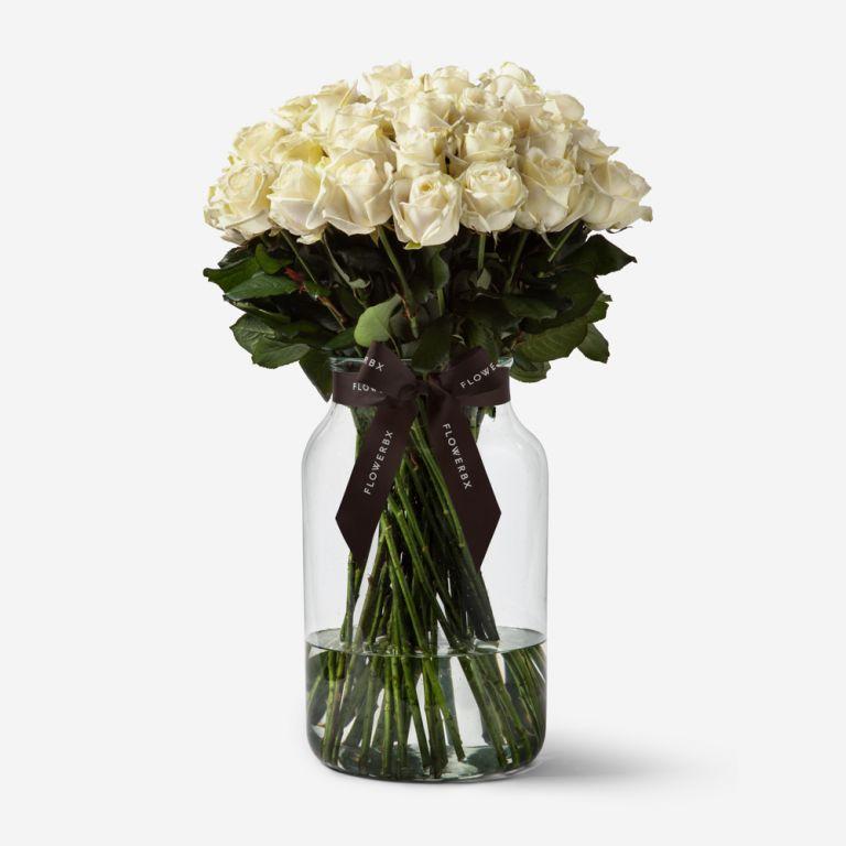 50 Roses in Medium Apothecary Vase