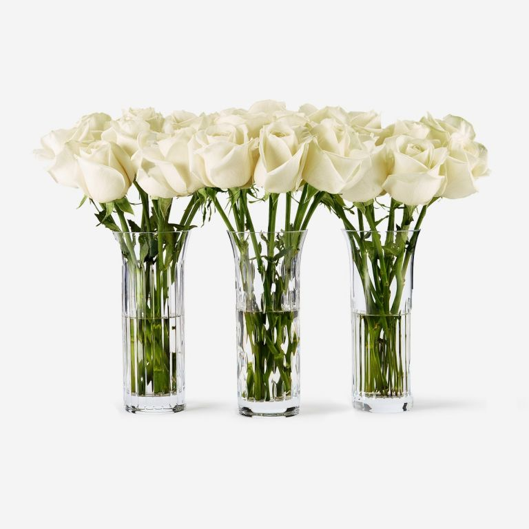 Trio Baccarat Ivory Avalanche Vase Set