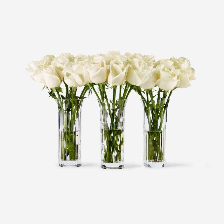 Baccarat Rose Vase Set-White