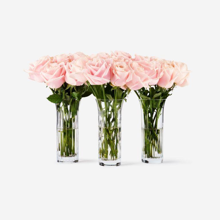 Baccarat Rose Vase Set-Pink