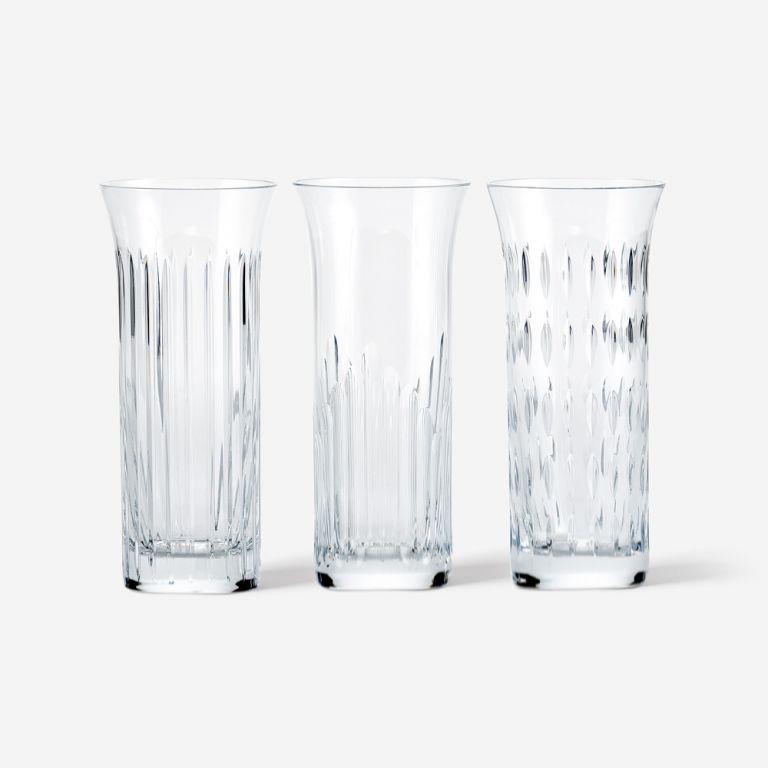 Trio Baccarat Primrose Peony Vase Set