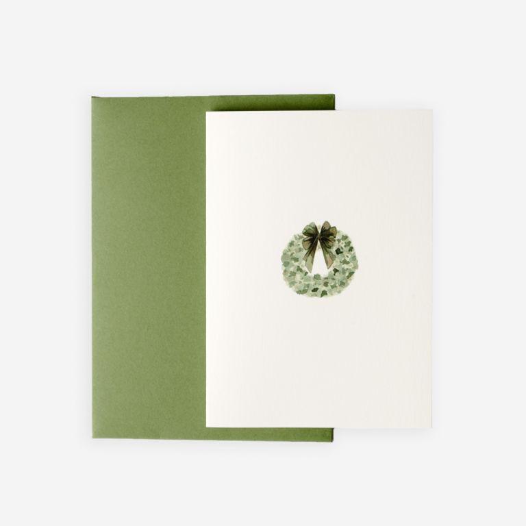 FLOWERBX X Memo Green Wreath Christmas Card Pack of 10