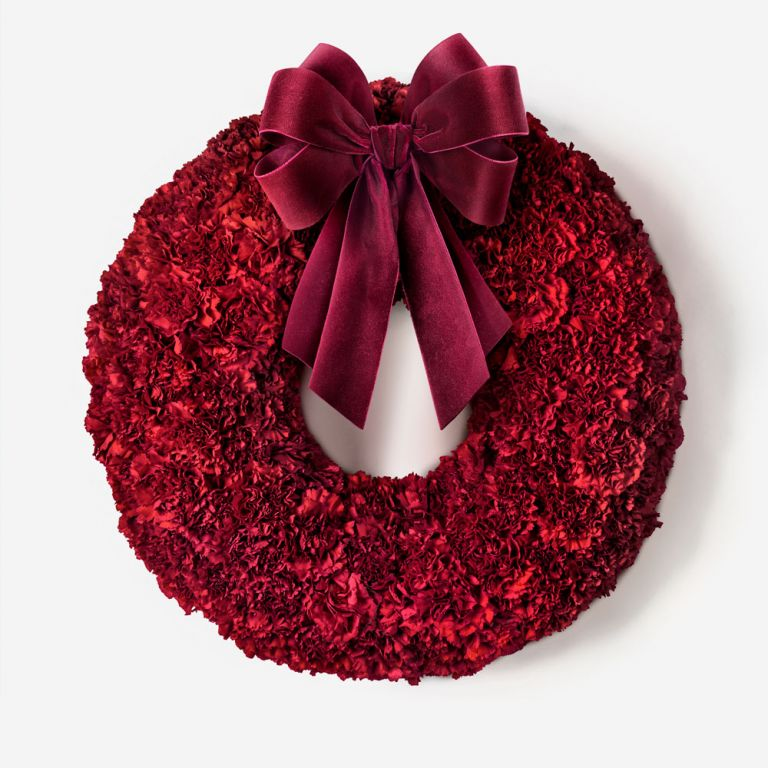 Red Carnation Indoor Wreath