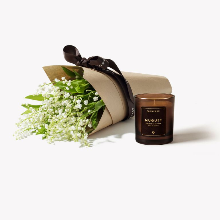 Bridal White Lily of the Valley & Candle Set