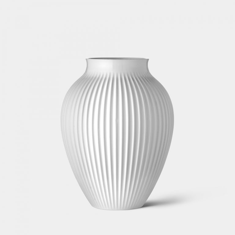 Medium Ridged Mayfair White Vase