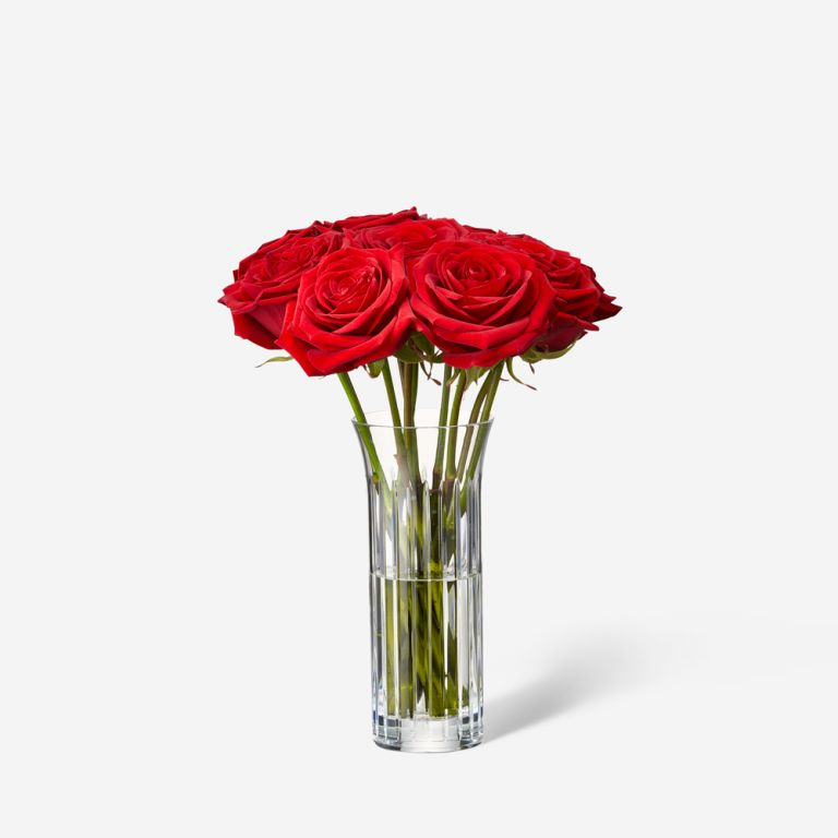 Single Baccarat Rose Vase Set-Red Naomi