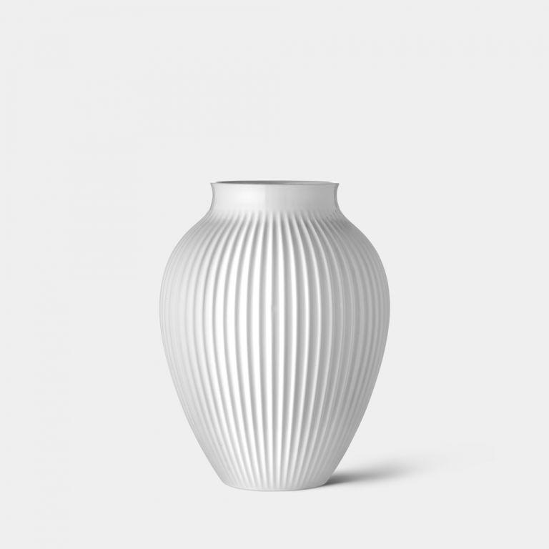 Small Ridged Mayfair White Vase